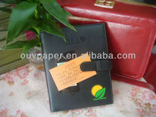 All black luxury PU leather notebook cover design with closure