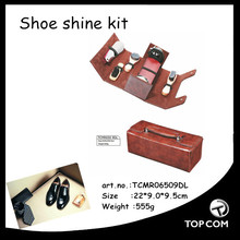 popular shoe polishing set/top shoe cleaning kit/shoe care product in leather bag
