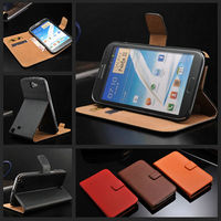 High quality genuine leather case for Samsung Galaxy Note 2 N7100 with card holder and bill site flip style
