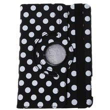 Portable 360 Rotating Flip PU Leather Wave Dot Case Cover for iPad Mini 1/2/3 (Black)