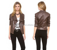 Brown Big collar women leather jacket cheap garment 2015 spring new washed pu jacket