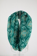 Fashion print polyester voile infinity scarf
