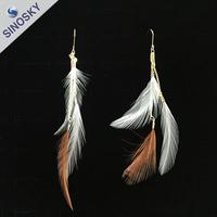 high quality zinc alloy matt gold Feather Earrings