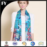 factory direct digital printing lady logo print silk scarf