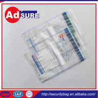 tamper evident reusable pouch/canvas cash bags/clear tamper proof plastic bags
