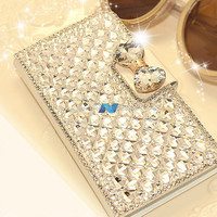 Rhinestone Synthetic Leather Case For Note3 S3 S4 S5