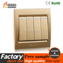 Simple design active surface warm 4 gang 1 way Satellite TV wall switch socket