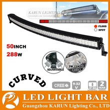Curved LED driving light bar 50inch 288W,12/24V LED light bar,offroad car accessories,4x4 auto lighting,truck,4WD,JEEP,IP67