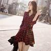 2015 Autumn Winter Latest Korean Design Women Red Check Long Sleeve Shirt Dress