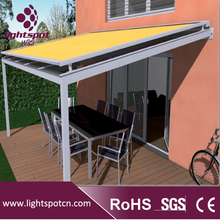 Aluminum roofing remote control retractable sliding awning