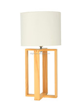 Simple Design Handmade Wooden Table lamp, T/C or Linen lampshade