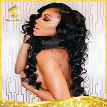 Gorgeous hair 100 human hair 130% density lace front wigs with bangs big deep body wave parting on side paid by ipad