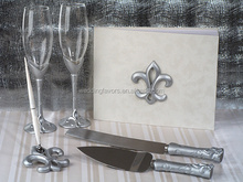 Silver Fleur de Lis 4 Piece Wedding Collection