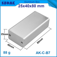 High quality in silver color aluminum case with Brushed 25x40x80mm