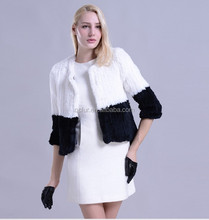 QC1014 brand new real rabbit fur knitted jackets coats women