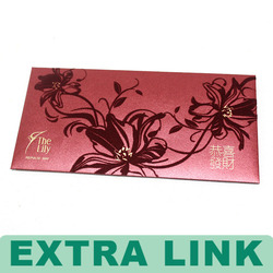 red color flocking logo Chinese classic traditional coin paper pocket