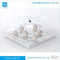 Taiwan Manufacture Customized Clear Acrylic Functional Egg Tray/Dispenser/Food Serving Plate/Banquet Equipment/Utensils/Plastic