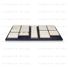 jewelry packaging box track on base tray could push and pull off-white pu leather jewelry display