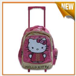 High quality cartoon kids school bags with trolley