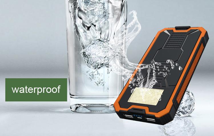 Waterproof 12000mah solar power bank