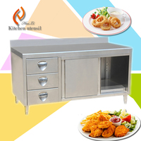 100% export CE approved European standard commerical stainless steel kitchen cabinet with drawer and backsplash