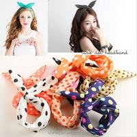 Fashion Cute Bunny Rabbit Ear Ribbon Headwear Metal Wire Scarf DIY Hairband korean hair accessories