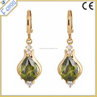 Fashion Teardrop Crystal Gold Flower Women Hoop Dangle Earrings