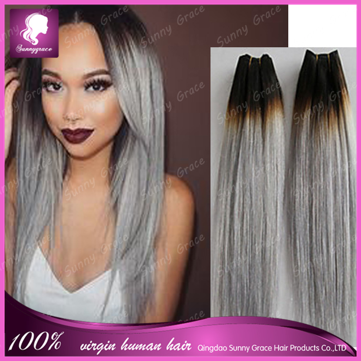 Malaysian Ombre Silver 1bgrey Color Human Remy Hair Weave Dark