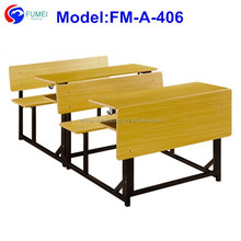 FM-A-406 wooden connected student desk and bench for double seats
