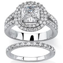 Fashion promotional 2pcs cubic zirconia women 925 sterling silver western wedding ring sets