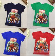 2015 summer boy big hero t shirt short-sleeve kid baymax tee big hero 6 top