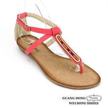 fancy thong heel surrounded ankle strap ladies flat sandals 2015 pvc flat sandals