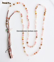 Pink Agate Beaded Tassels Necklace Chain
