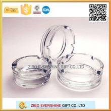Promotion round engraved crystal glass ashtray