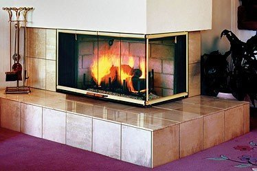Cr 3835 two sided corner wood burning fireplace buy wood for Double sided fireplace price