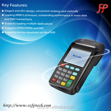 Handheld touch screen mobile pos terminal with printer for payment in restaurant