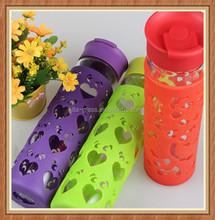 Custom design 550ml recycled tea drinking glass sport water bottle
