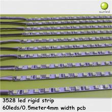 narrow led rigid strip 4mm 5mm width 3528 rigid led strip light