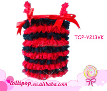 Best-selling fashion young girls red black lace tank top