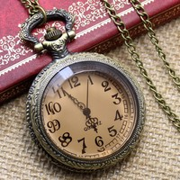 Made in China Glass Face Quartz Necklace Pocket Watch P03