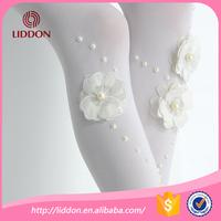 Princess dress white crystal stocking custom children's pearl studded capri leggings