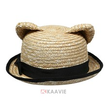 newest designer cute cartoon ladies paper hats promotional children straw hats with ear