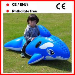 PVC blue color inflatable dolphin pool floats for kids