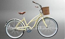 24 inch newest style hot sale favourite classic yellow beach cruiser bike