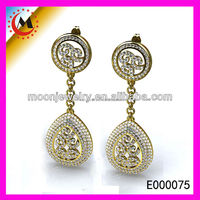 RUSSION COSTUMES LADIES FASHION WHOLESALE18K GOLD PLATED EARRINGS, GOLD AND DIAMOND EAR RINGS, GOLD WEDDING EARRINGS