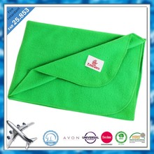 Light green airline fleece blanket woven logo Blanket manufacturer in China