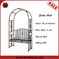 Competitive Price Professional 121x45x220cm Black Metal Garden Arch With Bench
