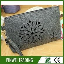 gray color cosmetic bag beauty Travel Cosmetic Bags wool felt cosmetic bag