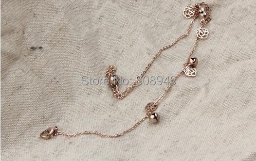 Рождество розового золота титана стали розового дизайн звон колокола шкентеля женщины ножной браслет ног сеть подарок ювелирных изделий, S079a