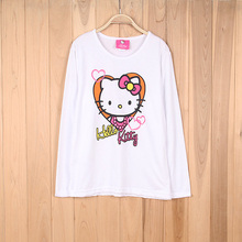 4674# Girls long-sleeved printing T-shirt 2015 Stock Clothing wholesale Girls sweet Holle Kitty t-shirt